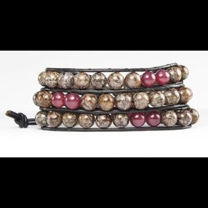 Jewelry - Jasper and Garnet Triple wrap bracelet